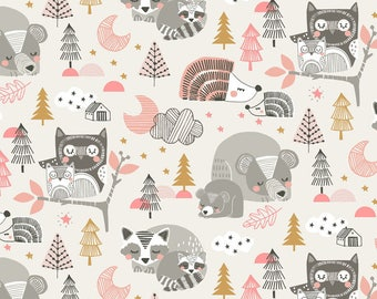 Sleepyheads Pink from Blend Fabric's Sweet Dreams Collection by Maude Asbury - A Whimsical Woodland Collection