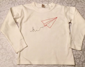 Paper Airplane Shirt, Embroidered Shirts, Vintage Embroidery, Sketch Embroidery Baby Boy Shirts for Kids