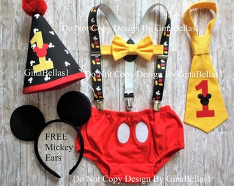 Mickey Mouse Birthday outfit cake smash costume Mickey suspenders baby FREE EARS diaper cover bowtie or I am one tie hat 9  12 18 24 toddler