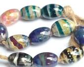 Little Mix - Handmade Lampwork Glass Beads - Oval Shaped Handmade lampwork Bead Set  - SRA