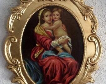 Sale Antique Vintage Oil Painting Portrait of Madonna & Child Old Master Style O/C Art Framed