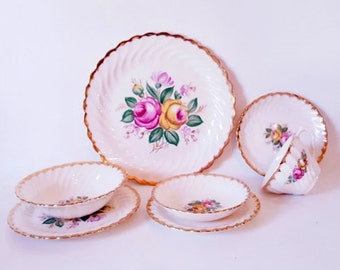 Vintage Floral Dinnerware Set  Pink Yellow English Roses  Complete 7 Piece Dinner Sets Bowls Plates Cups Saucers Gold Rim Floral China