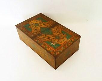 Antique Art Deco Tin Box Ornate Gold Green Metal  Box Antique Art Nouveau Perfume Box Heubigant Quelgues Fleurs Co Memento Box