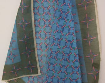 """Designer Scarf - Blue with Pink and Olive Green - Semi Sheer 27 x 27"""""""