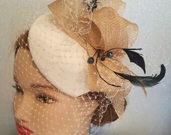 Champagne  wedding fascinator, kentucky derby hat, coctail hat, ivory wedding headpiece,   fashion hat
