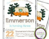 Our Happy Little Camper Birthday Party Invitation Trailer Personalized Invite Little Boy 5x7 Digital