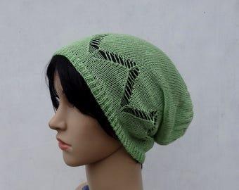Knit linen hat, knitted summer beanie, natural linen slouchy, knitting lace hat, women men tam, green hat, flax sun hat, accessories