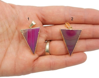 Hot Pink Agate Slice Triangle Pendant - Gemstone Triange Pendant with Electroplated 24k Gold Edge (Lot G-167)