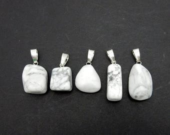45% off Liquidation SALE White Howlite Tumbled Stone Pendant with Silver Toned Bail (S36B17-01)