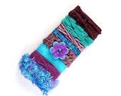 Peacock & Purple Novelty Yarn Sampler - Art Fiber Bundle for Collage, Card Making, Gift Wrap Ribbon, Scrapbook Embellisment, Millinery - 13B