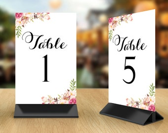 Table Number Cards 1 through 50 | Black Script and Romantic Blooms Floral Corners | 4 x 6 | Set of 50 | Instant Download