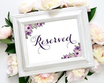 Reserved Sign   5 x 7   DIY Printable   Vintage   eggplant   Purple Blooms   PDF and JPG Files   Instant Download