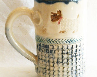 Scotti dog ceramic 16oz coffee mug stoneware 16B078