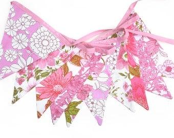 Vintage Bunting - Retro Pink MULTI Floral Flags Shop / Market Display, Party Decoration . Birthday Parties, Garden Party, High Tea, Wedding