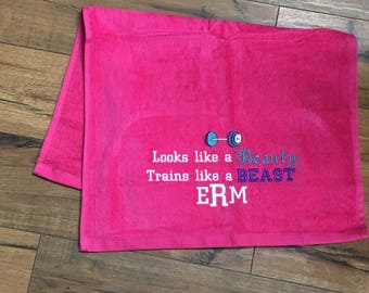 Gym towel, Personalized, workout towel, sweat towel, exercise towel, sport towel, exercise gift, monogram, name or any saying, 12 x 26,
