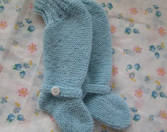 Hand Knit Baby Knee Booties Pure Wool Ready to Ship Newborn to 6M