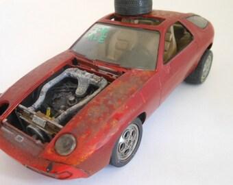 Scale Model Car,Porsche,1 24 Scale,Junker Car,Rusted Wreck
