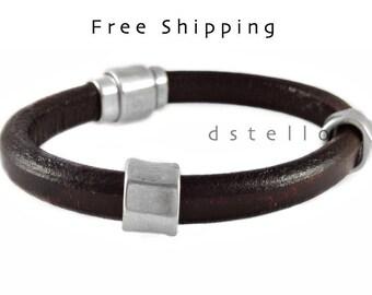 Custom mens leather bracelet, mens bracelet, leather bracelet, men's jewelry, 3 year anniversary gift, Brother, husband, birthday gift