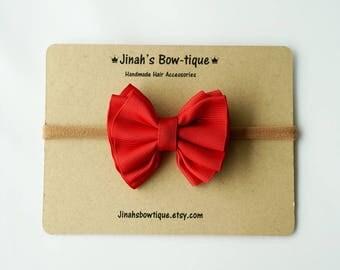 Gathered Hair Bow -Red- Hair Clip or Nylon Headband
