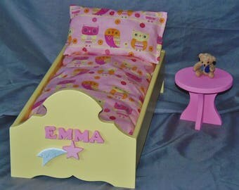 Beautiful doll bed perfect for American Girl Doll and all 18 inch dolls with adorable pink and yellow owl bedding