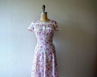 1940s floral print dress . vintage 30s 40s dress