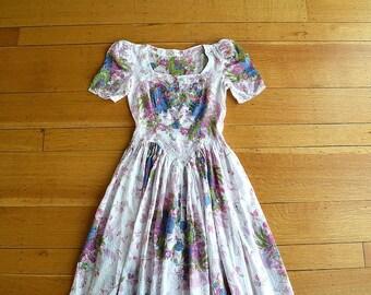 1930s cotton gown . vintage 30s garden party dress