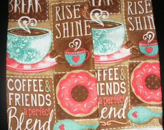 Crochet top hanging kitchen towels coffee and donuts