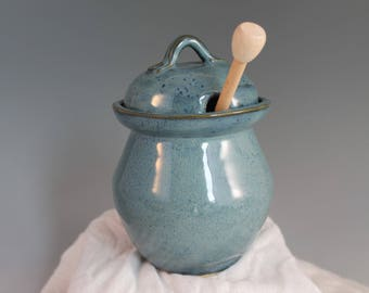 Large Honey pot - Blue - ready to ship - handmade - organic