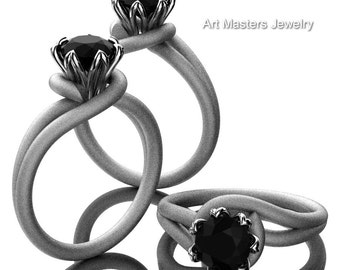 Classic 14K White Gold 1.0 Ct Black Diamond Solitaire Ring R559-14KWGSBD
