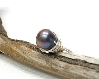Freshwater pearl ring, size 8 ring, wire wrapped ring, handmade ring, wire wrapped pearl ring, cranberry pearl, wine pearl. Made in USA.