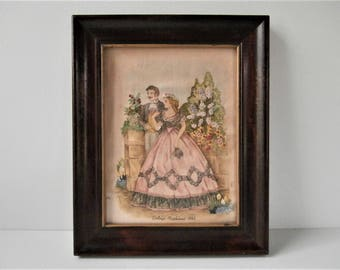 Vintage Embroidery Pink Bedroom, Godey's Lady's Book, 1800s Fashions, Framed Needlework, Pink Dress