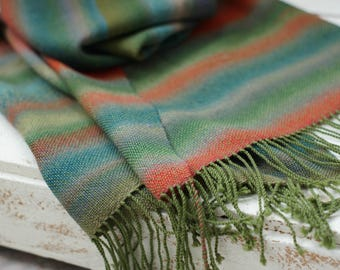 Hand woven scarf women pashmina scarf green red stripes handwoven scarf