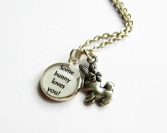 Rabbit Necklace, Some Bunny Loves You Charm Necklace, Bunny Charm Necklace, Rabbit Jewelry, Cute Gift, Girls Jewellery