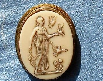 """Vintage Celluloid Greek Goddess Cameo Brooch/Pendant Large 1 7/8"""". Goddess with Birds, Flowers, Nature.  Only 24.90"""