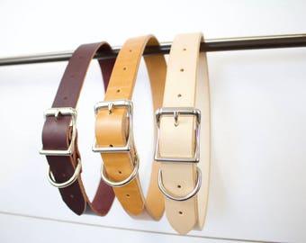 Large Leather Dog Collar - The Classics, vegtan, bridle leather, latigo