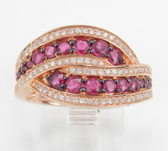 14K Rose Gold Diamond and Ruby Bypass Anniversary Band Ring Size 7 July Gem