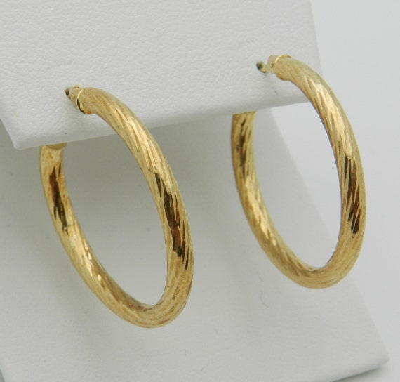 """14K Yellow Gold Hoop Earrings Hoops 1"""" FREE SHIPPING Fine Jewelry Perfect Gift"""