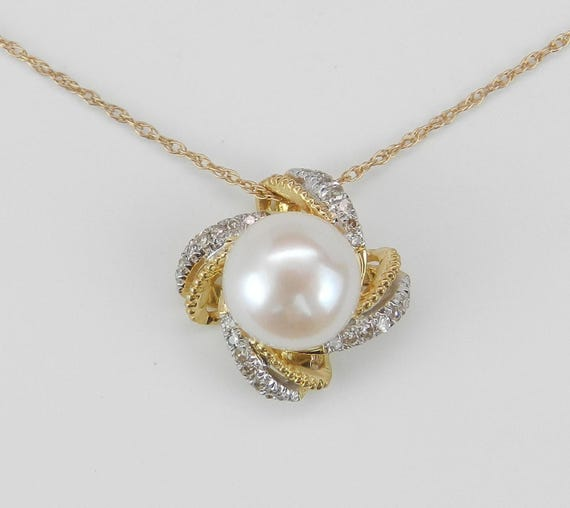 "Yellow Gold Diamond and Pearl Halo Pendant Necklace with Chain 18"" June Birthday"