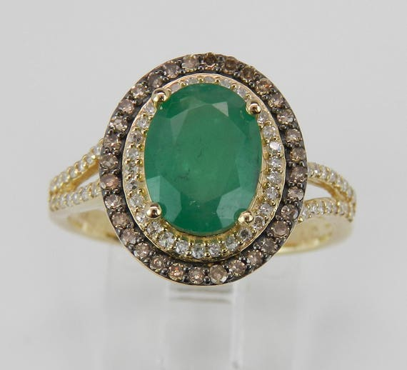 Emerald and Fancy Diamond Halo Engagement Ring 14K Yellow Gold Size 7 May Birthstone