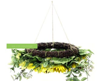 Artificial Sunflower Floral Chandelier - Sunflower Wedding - Hanging Flowers