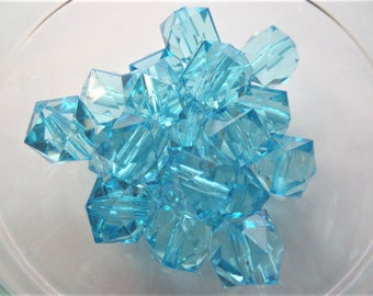 16mm, 20CT,  light Blue Ice Cube beads. Blue Faceted,  Gumball Bead, B56