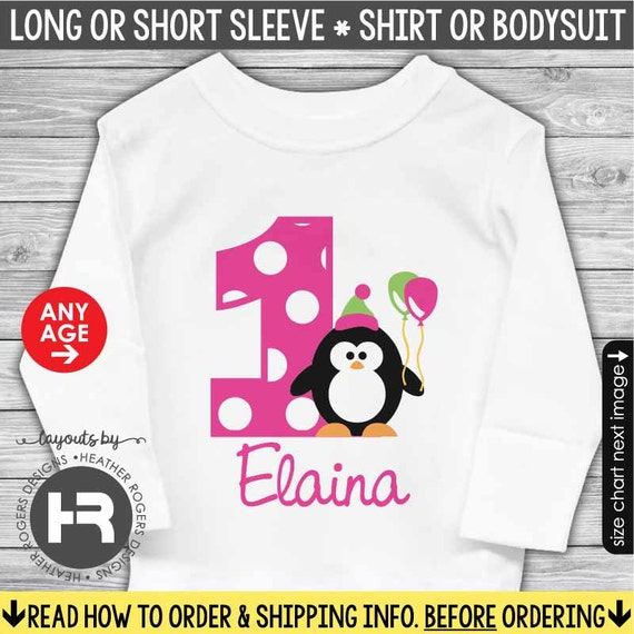 Penguin Birthday Shirt or Bodysuit - Made for ANY AGE - Personalized 1st Birthday Shirt - Monogram First Birthday Outfit