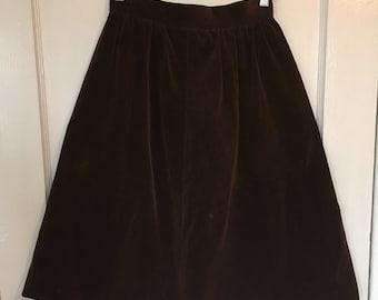 Vintage A-line Skirt Velvet Chocolate Trouse Up Vtg 7/8