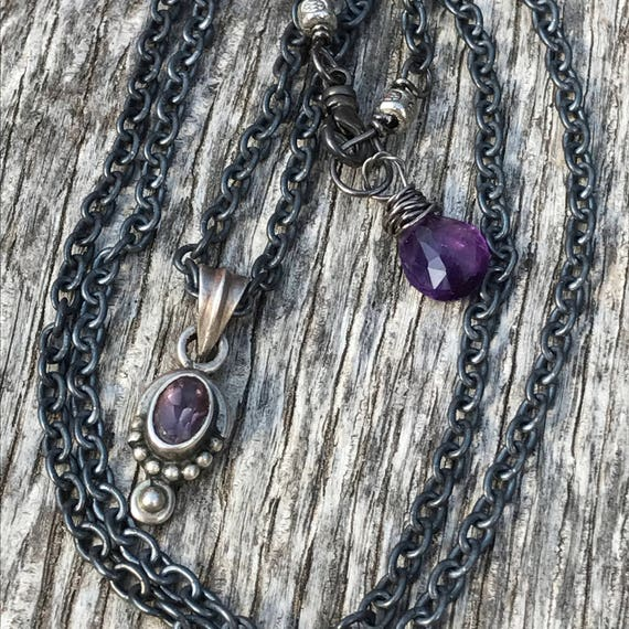 Oxidized Sterling Silver Amethyst Pendant Necklace - Rustic Boho  Sundance Style Jewelry - Artisan