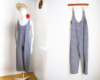 Striped Jumpsuit Playsuit women's romper pants blue white striped trousers sleeveless retro cute cropped summer leisure Beach wear / Small