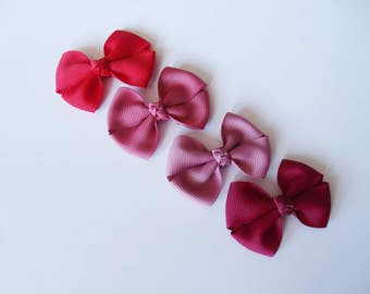 Red, Burgundy Small Hair Bows - One Size Nylon Headbands - Mini Pig Tail Bow Hair Clips - Satin or Grosgrain - You Pick Color