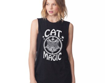 Occult Cat Tee - Cat Magic Unisex Sleeveless T Shirt