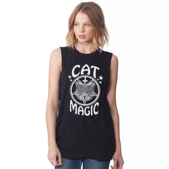 Occult Cat Tee - Cat Magic Unisex Sleeveless T Shirt
