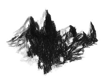 Dark black mountains landscape drawing - In the shadows - Original illustration 24x32cm