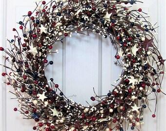 Americana Wreath - Memorial Day Wreath - Tin Stars & Berry Wreath - Patriotic Front Door Wreath - Pip Berry Wreaths - Gift - July 4th